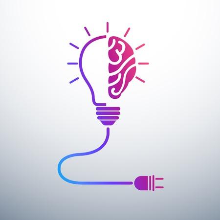 Creative notion cerveau d'idées avec ampoule et bouchon icône, illustration vectorielle Banque d'images - 32367387