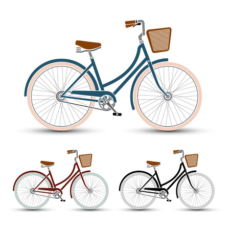 woman Style Bicycles set vector illustration Vector