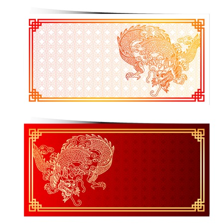 chinese new year dragon: Chinese traditional template with chinese dragon on chinese pattern Background