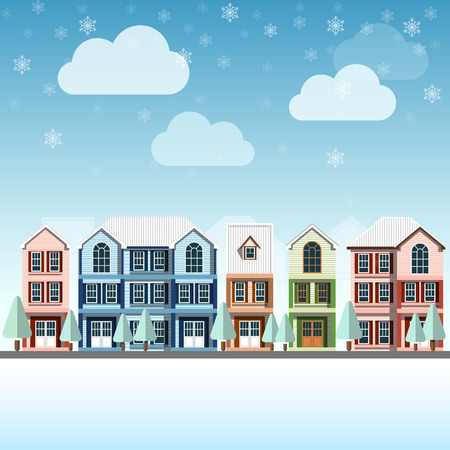 landscape scene: cityscape Vintage buildings with snowfall on Winter