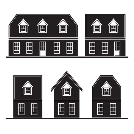 set of  silhouette houses flat design  Vector