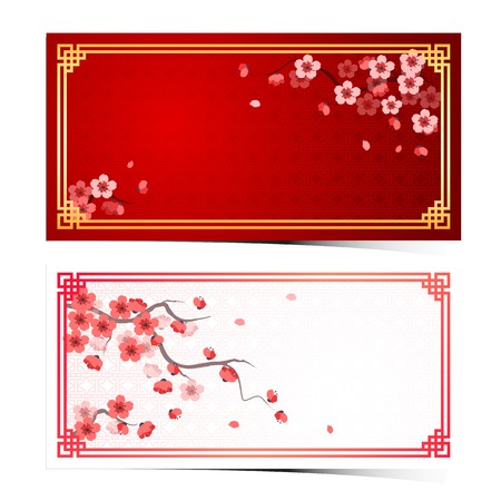 year greetings: cherry blossom template with chinese frame pattern vector illustration