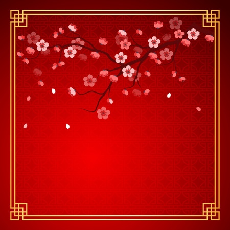oriental background: cherry blossom template with chinese frame pattern vector illustration