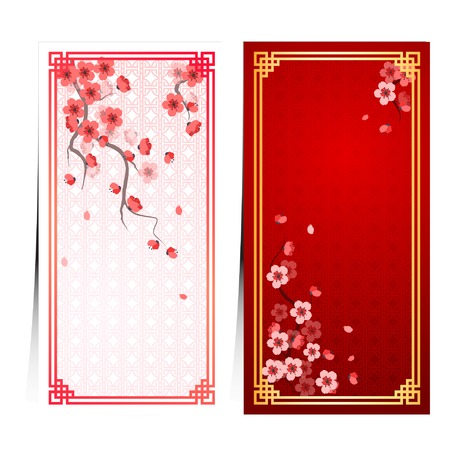 blossoms: cherry blossom template with chinese frame pattern vector illustration