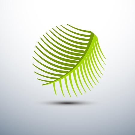 palmeras: Palma forma de hoja de iconos c�rculo, ilustraci�n vectorial