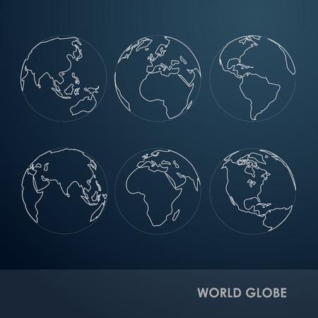 World Globe Detail line symbol Vector Illustration