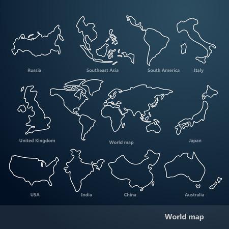 World Map line vector Illustration