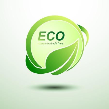 Eco green global labels concept with leaves,vector illustration Illustration