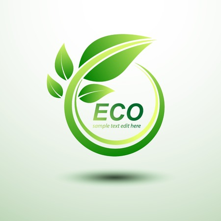 recycling plant: Eco green global labels concept with leaves
