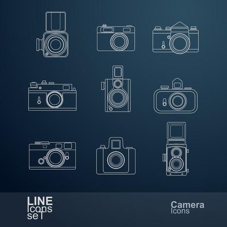 digital photo camera: retro camera line icons set , vector Illustration