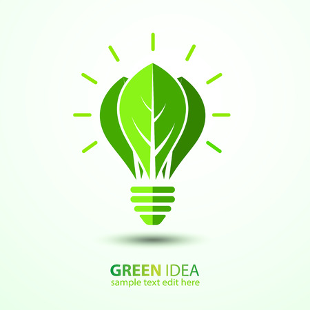 leave: Ecology idea green bulb with leave vector illustration Illustration