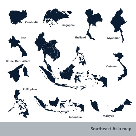 Asian Economic Community, Association of Southeast Asia map vector Illustration