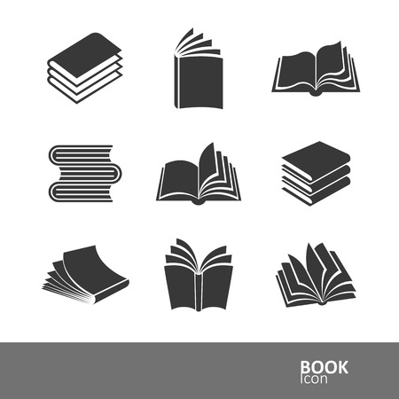 boek silhouet icon set, vector illustratie Stock Illustratie