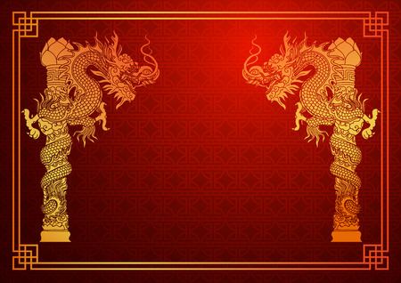 dragon chinois: Mod�le traditionnel chinois avec dragon chinois sur fond rouge