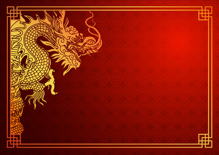 oriental: Chinese traditional template with chinese dragon on red Background