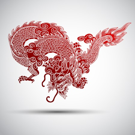 the dragons: Ilustraci�n de la tradicional chino del drag�n, ilustraci�n vectorial