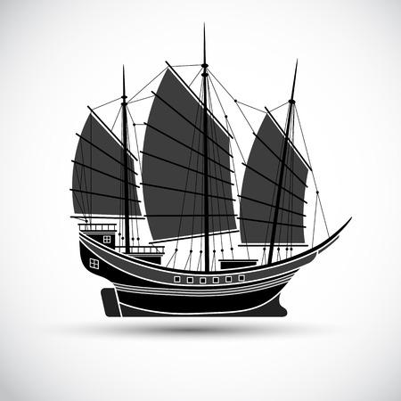 sailing ships: sailing ships black line silhouettes,Vector illustration