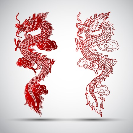 china art: Illustration of Traditional Chinese Dragon illustration
