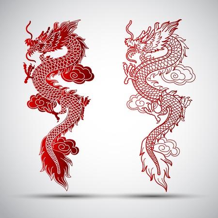 cultura: Ilustración de la ilustración tradicional dragón chino Vectores