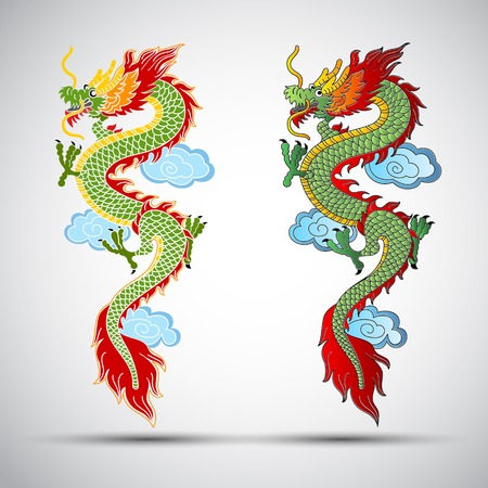 dragon tattoo: Illustration de la traditionnelle illustration dragon chinois Illustration