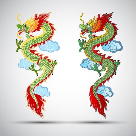 dragones: Ilustración de la ilustración tradicional dragón chino Vectores