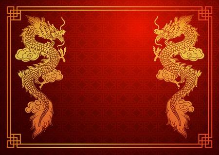 dragones: Plantilla tradicional china con el dragón chino en fondo rojo