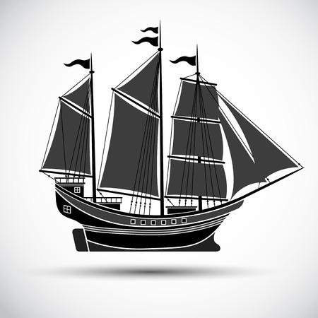 sailing ships: sailing ships black line silhouettesVector illustration Illustration