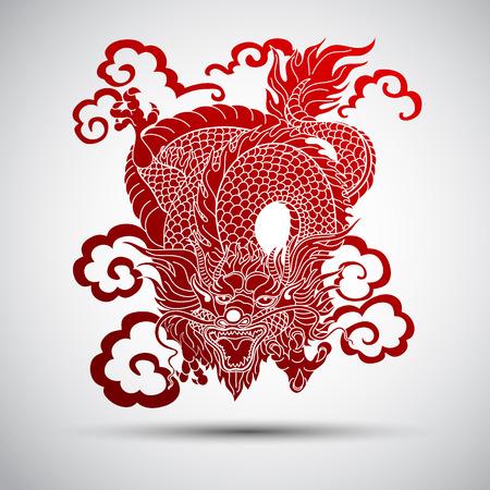 Ilustración de la tradicional chino ilustración vectorial Dragón Foto de archivo - 40064391