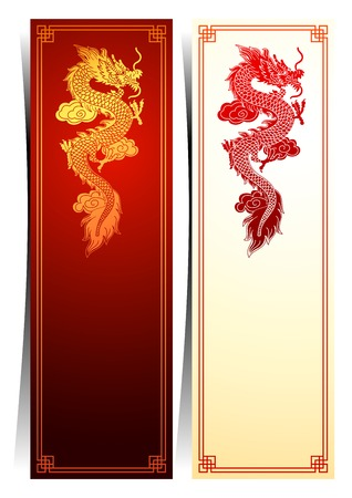 china art: Chinese traditional template with chinese dragon on red Background