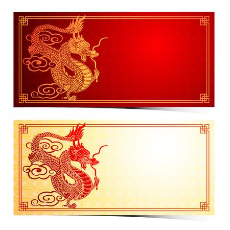 Chinees traditioneel malplaatje met Chinese draak op rode Achtergrond