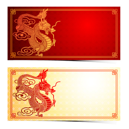 chinese traditional: Chinese traditional template with chinese dragon on red Background