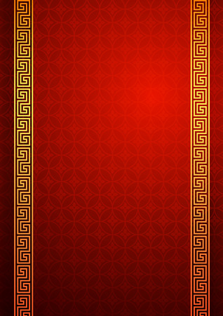 Chinese traditional template with frame on red Background vector illustration