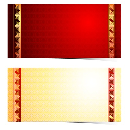 ancient japanese: Chinese traditional template with frame on red Background vector illustration