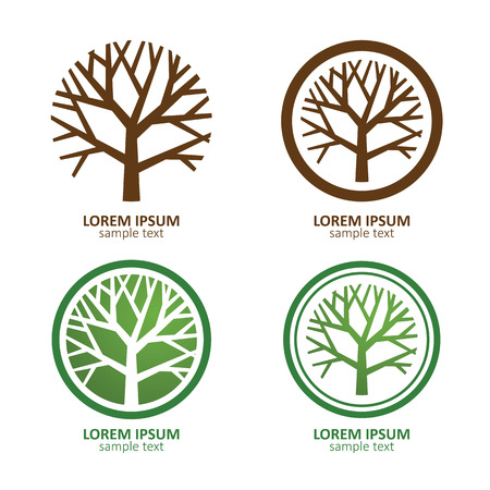 녹색 원 트리 벡터 로고 디자인. 에코 개념입니다 그림입니다. 일러스트