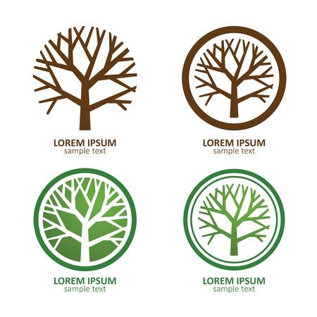 tuinontwerp: Groene Boom van de Cirkel vector logo ontwerp. eco concept.Vector Illustratie. Stock Illustratie
