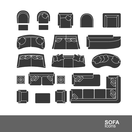 Set of sofa silhouette icons vector illustration illustration