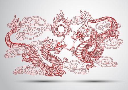 dragon chinois: Illustration de chinois traditionnel dragon illustration vectorielle