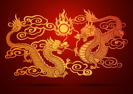 전통적인 중국 용 벡터 일러스트 레이 션의 그림