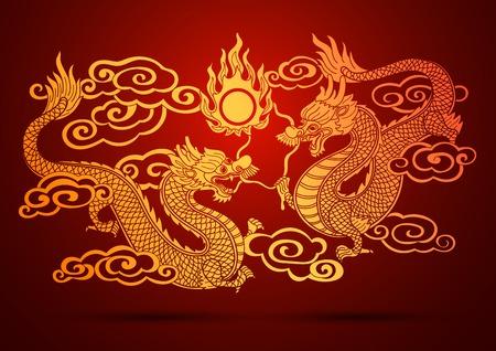 dragones: Ilustración de la tradicional chino ilustración vectorial Dragón