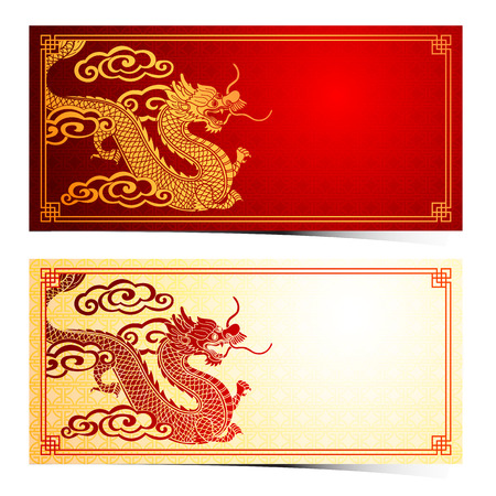 chinese dragon: Chinese traditional template with chinese dragon on red Background