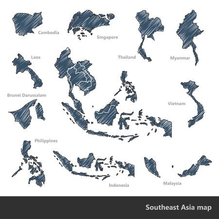 Asian Economic Community Association of Southeast Asia map doodle vector Illustration illustration