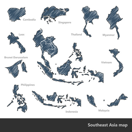 Asian Economic Community Association of Southeast Asia map doodle vector Illustration