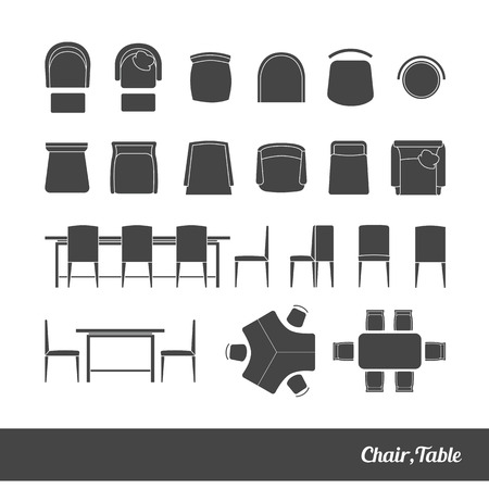 house plan: Set chairs and table  silhouette icons vector illustration Stock Photo