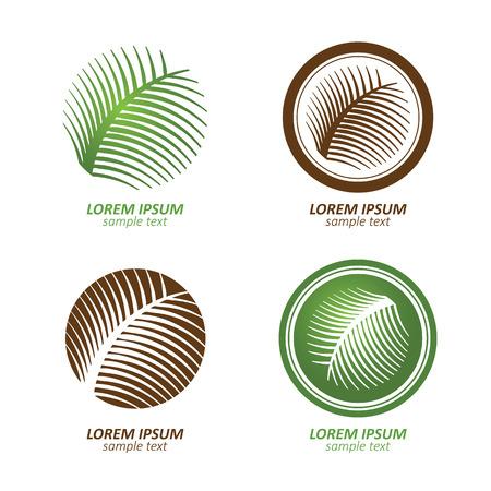 Groene cirkel palmboom vector logo ontwerpen. eco concept.Vector Illustratie.
