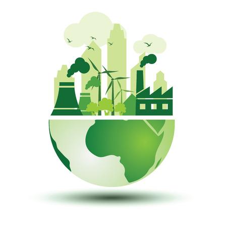그린 에코 지구 개념 벡터 일러스트와 함께 녹색 도시