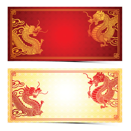 Chinese traditionele sjabloon met chinese draak op rode achtergrond Stock Illustratie