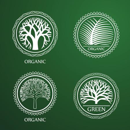 tree logo: Green Circle Tree vector label design. eco concept.Vector Illustration.