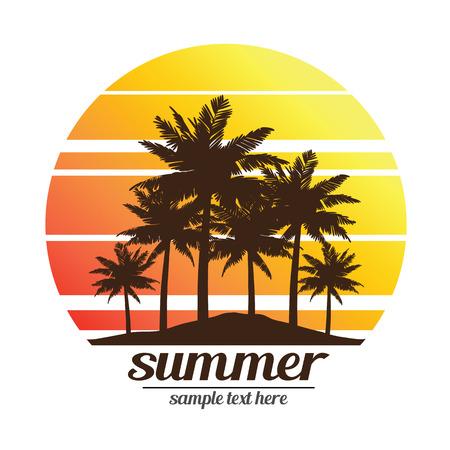 arboles frutales: vacaciones de verano en la puesta del sol tropical de la playa con la ilustración del vector de las palmeras