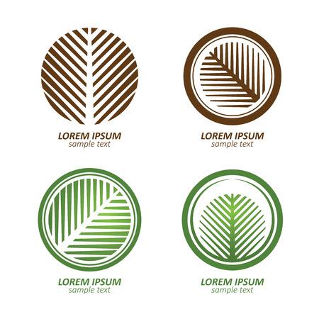 緑, 円筒形パーム ツリー ベクトルのロゴ デザイン。エコの概念。ベクトルの図。