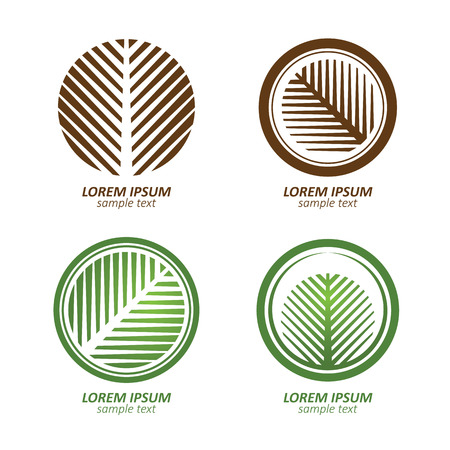 Green Circle palm Tree vector logo design. eco concept.Vector Illustration. Çizim